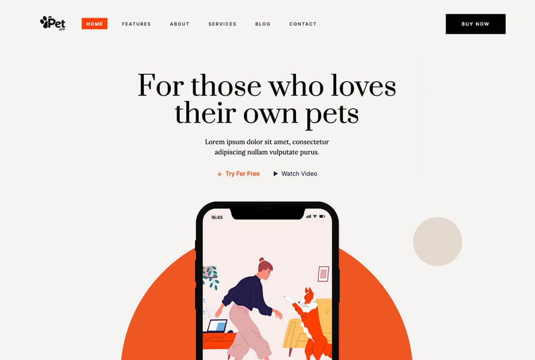 Pet App - App Landing Page