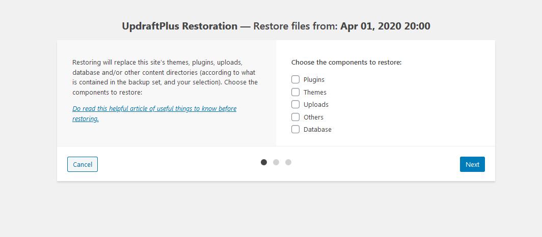 Restore data part 2 — WordPress(7)