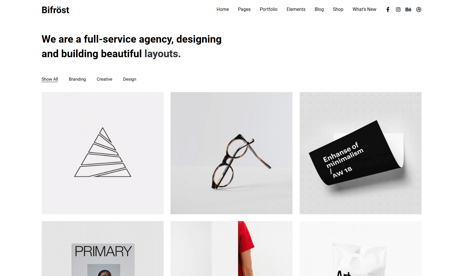 bifrost theme for agencies, blog portofolios