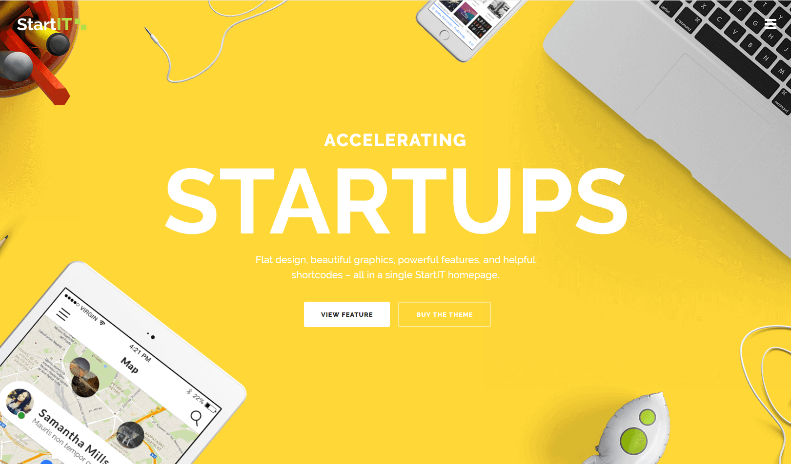 WOrdPress theme for startups