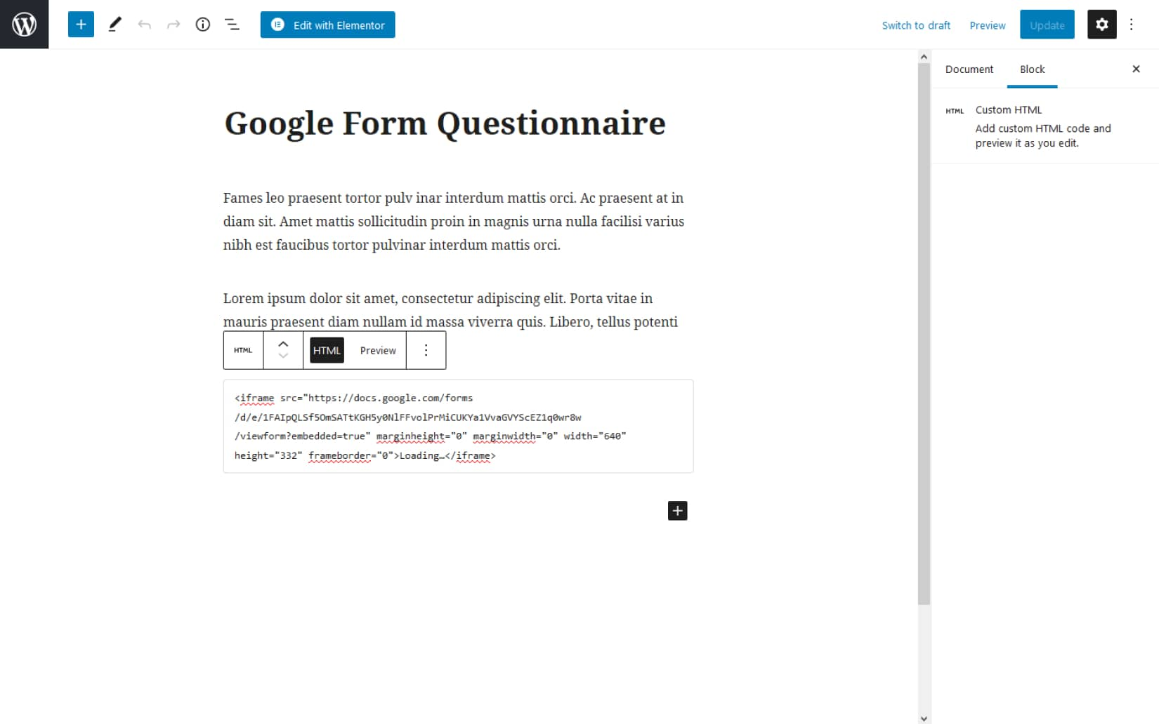 Howto Add Google From on your WordPress website