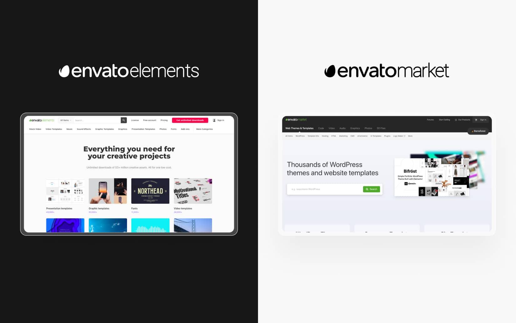 Envato Elements vs Envato Market - The differences