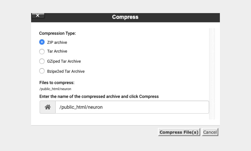 Compress the files 1