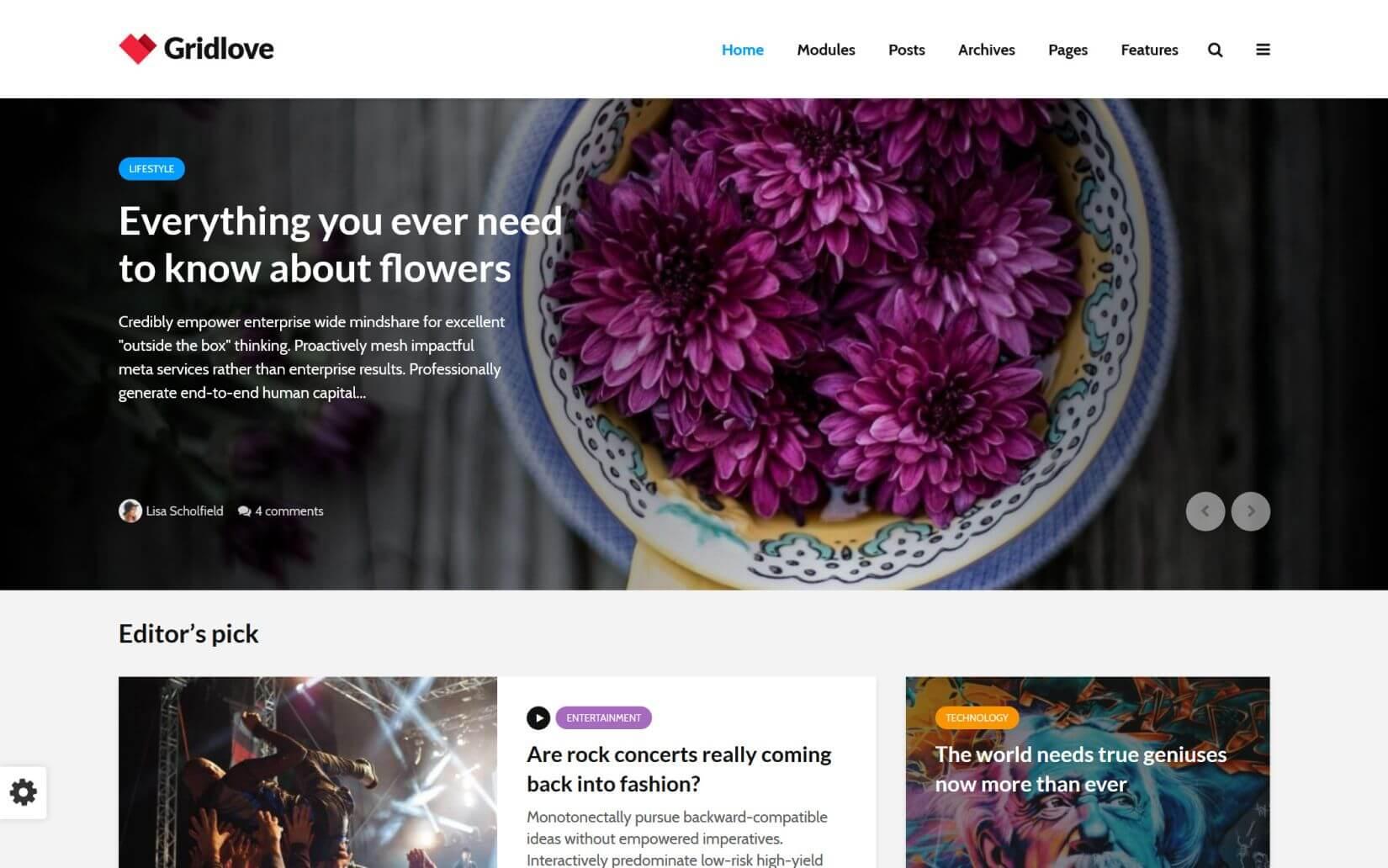 GridLove News Portal WordPress Theme