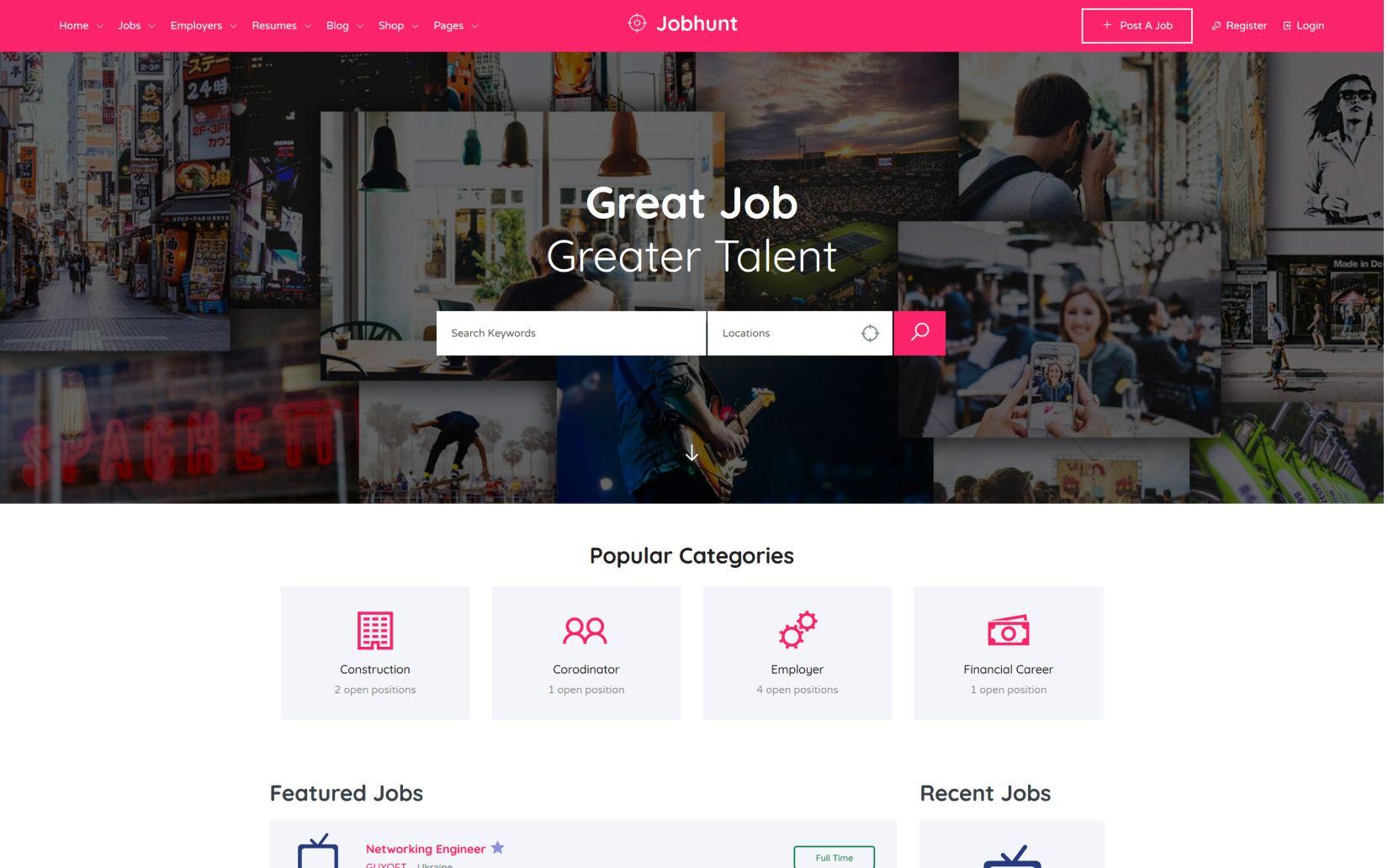 20 Best Directory Listing WordPress Themes Jobhunt Job Board WordPress theme for WP Job Manager