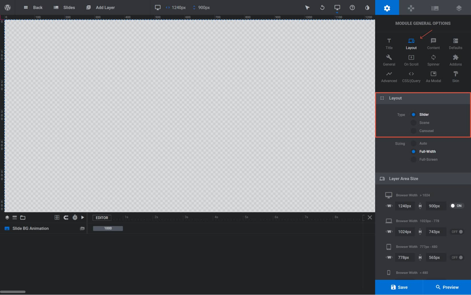 Choose the type of slider you want to create. Select the layout