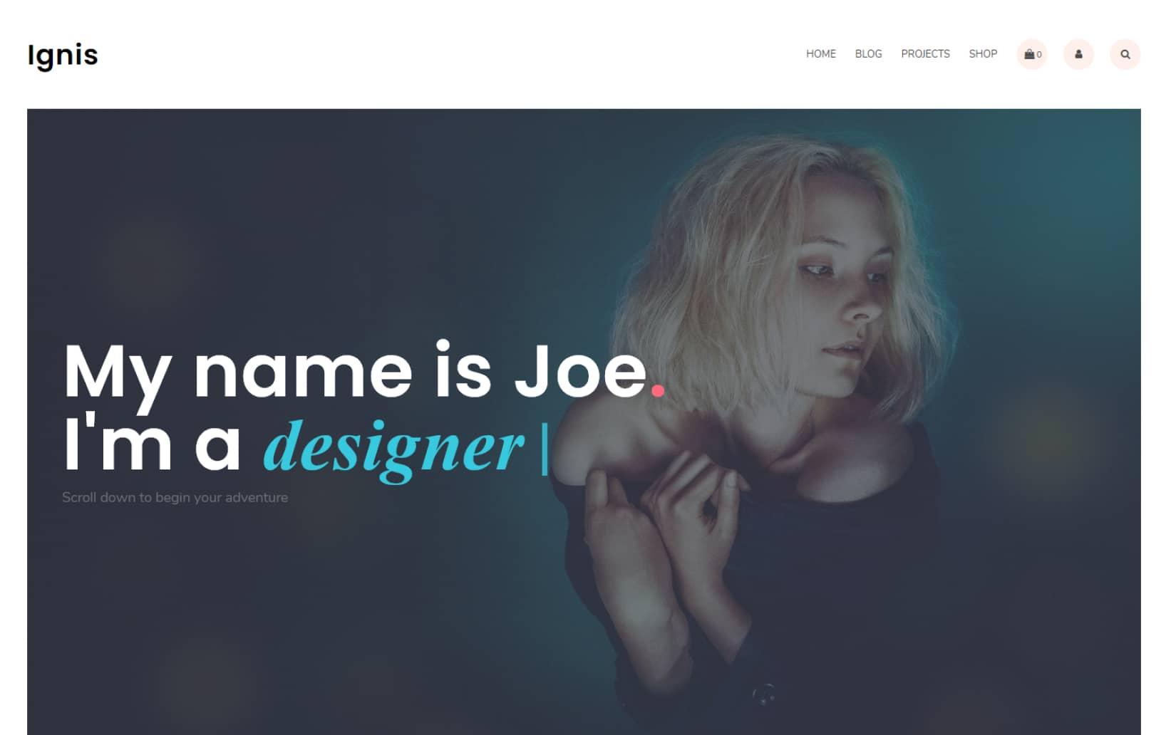 Modern and Minimal Portfolio WordPress theme for free