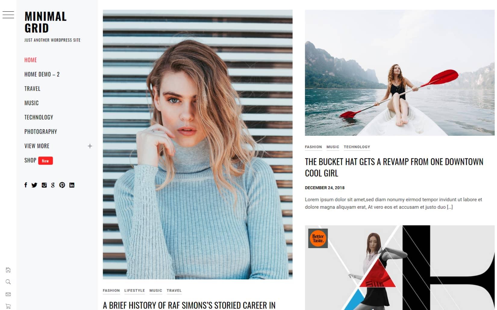 Minimal Grid a Free and Minimal Portfolio WordPress Theme