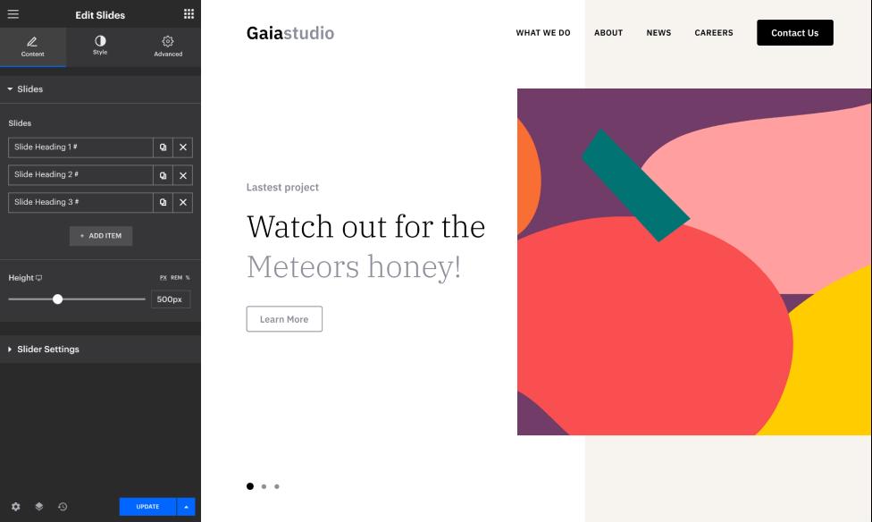 Build stunning slides on your website