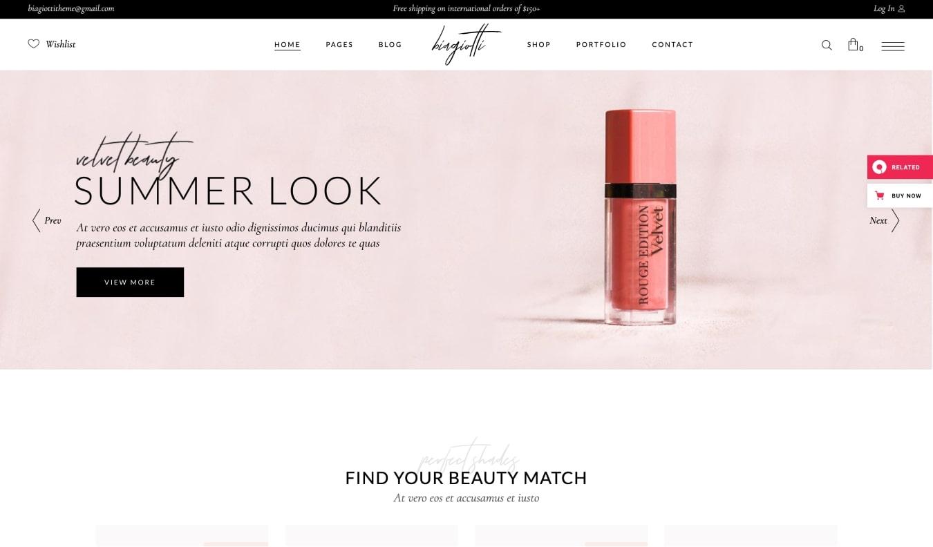 Biagiotti Beauty and Cosmetics WooCommerce Theme