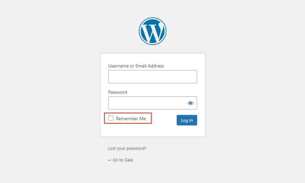 Remeber the WordPress login page 1