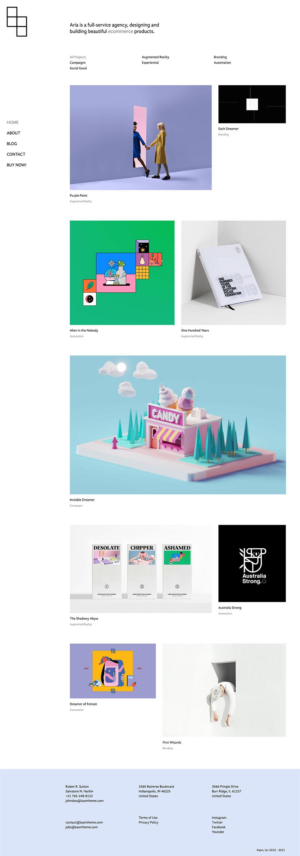 Aria Creative Portfolio Demo Website for WordPress