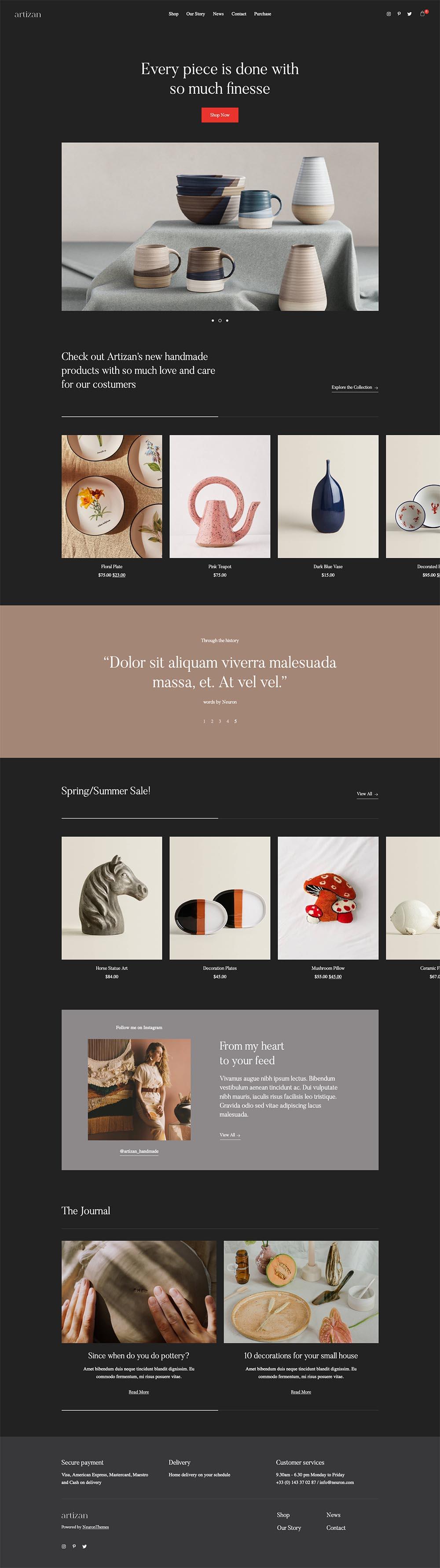 Artizan Elegant eCommerce Store Demo Website for WordPress