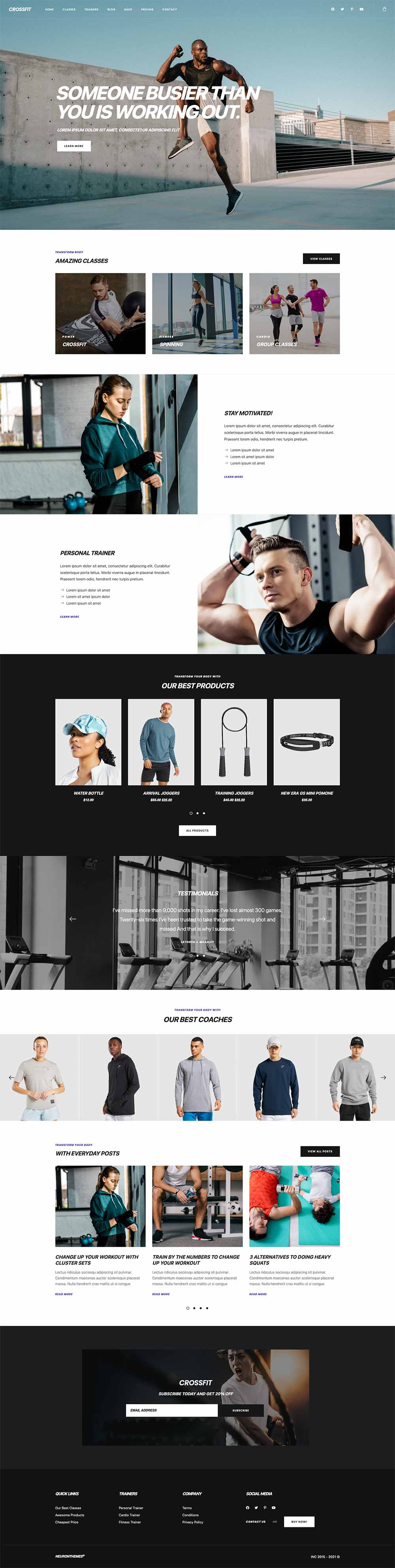 Crossfit - Fitness and Gym Demo Website for WordPress