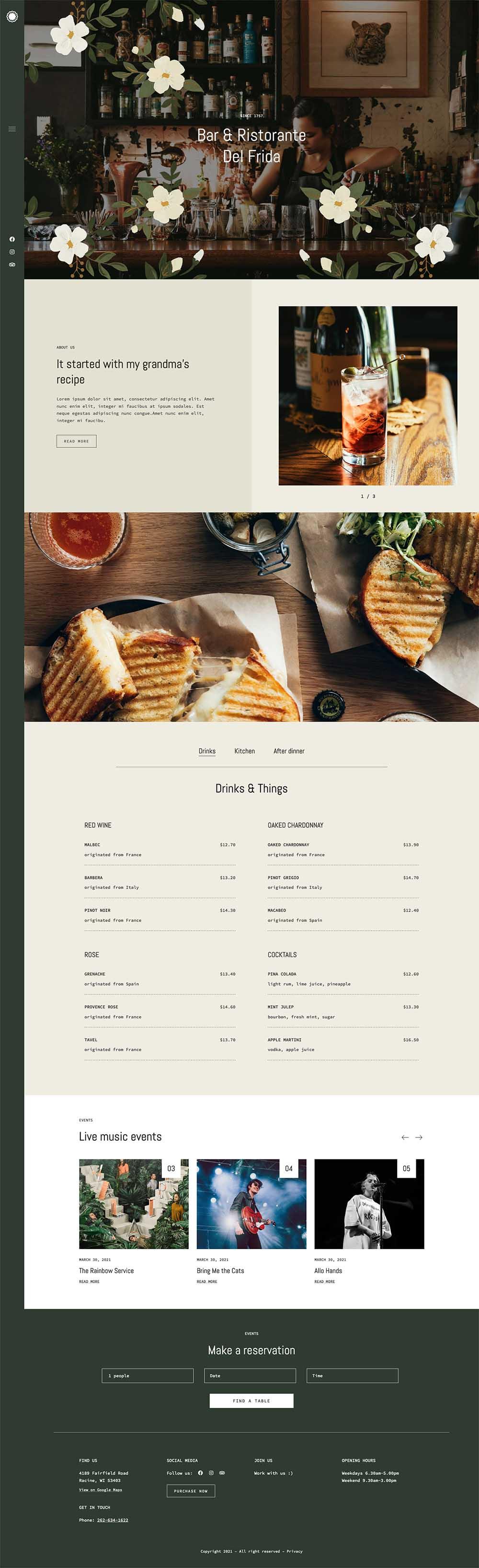 Frida Bar – Food & Restaurant Demo Website for WordPress