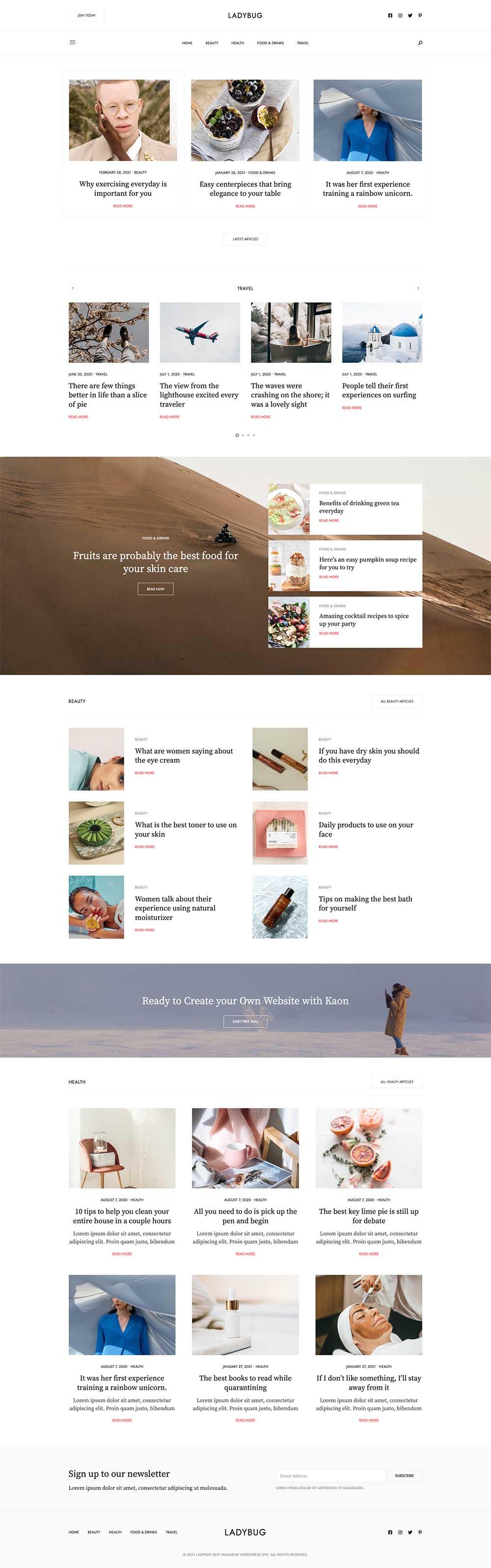 Ladybug Niche Blog Demo Website for WordPress
