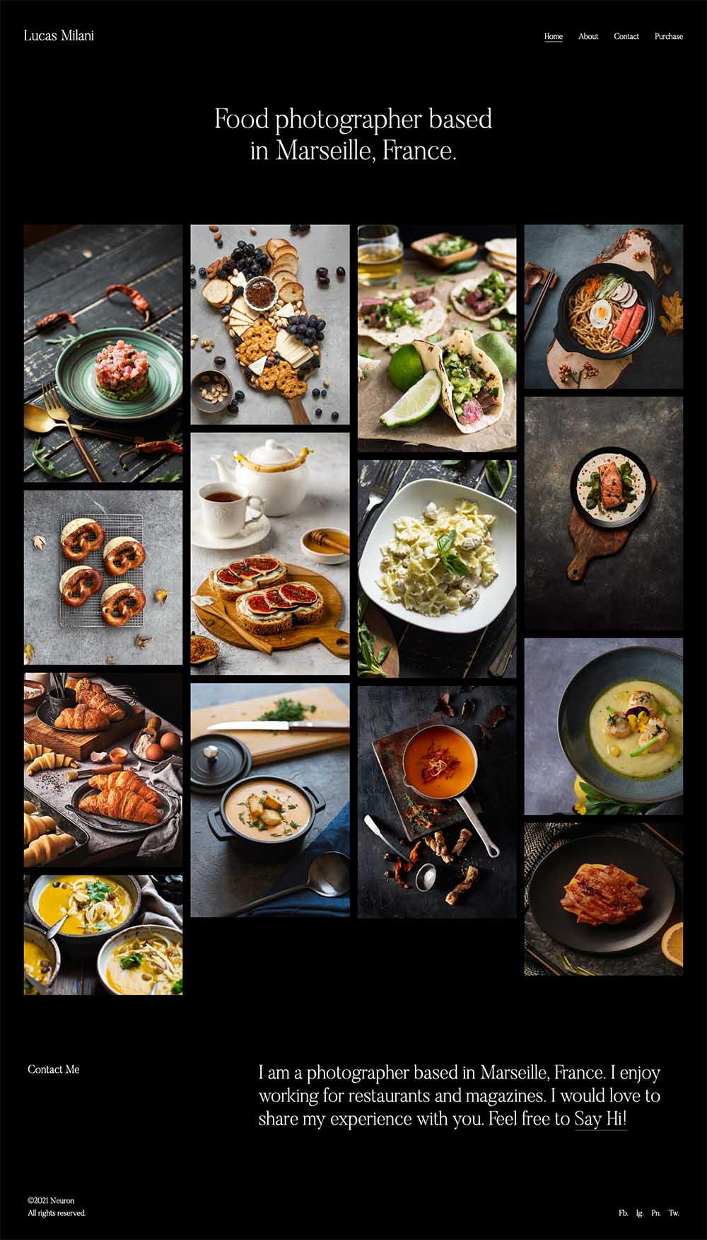 Lucas Milani - Food Photographer Demo Website for WordPress