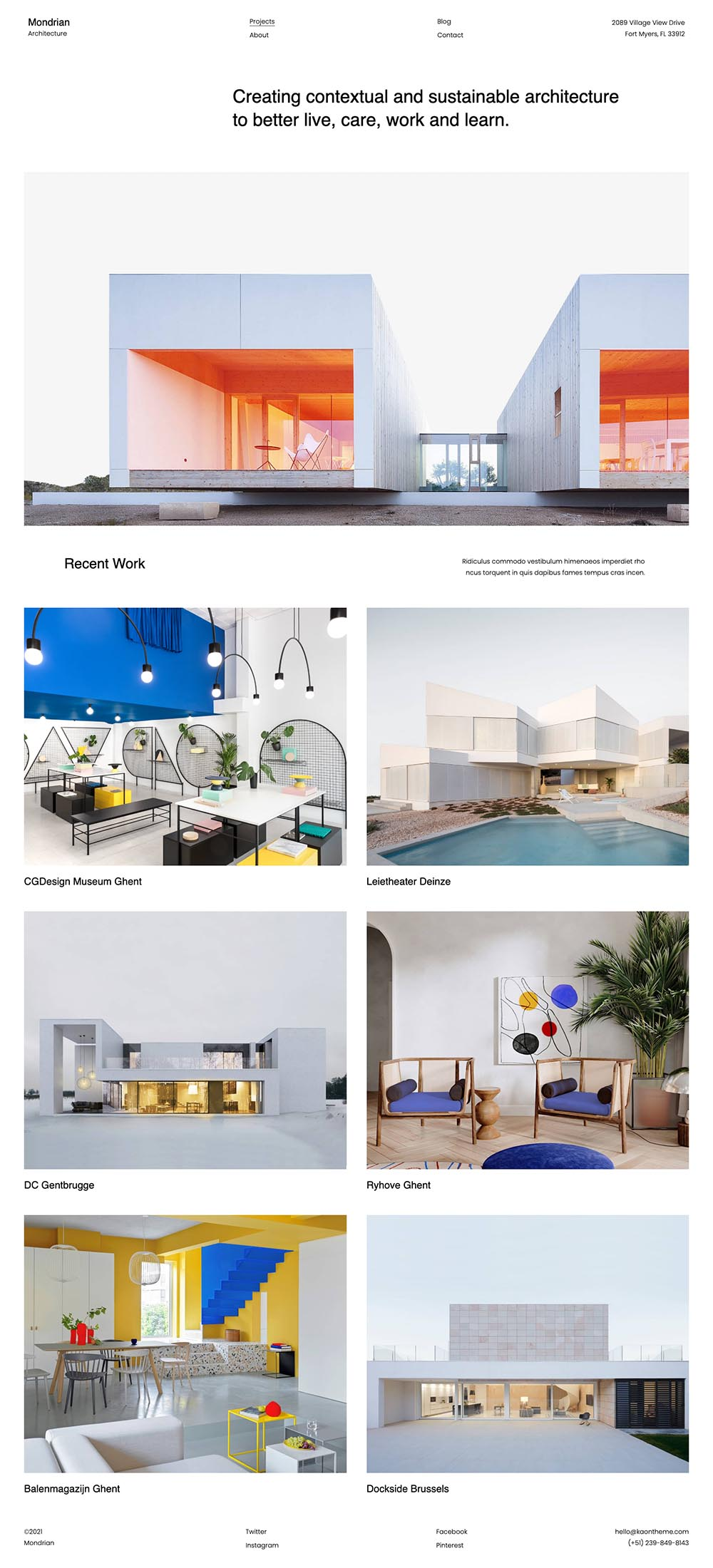 Mondrian Minimal and Clean Architecture Demo Website for Architecture agencies
