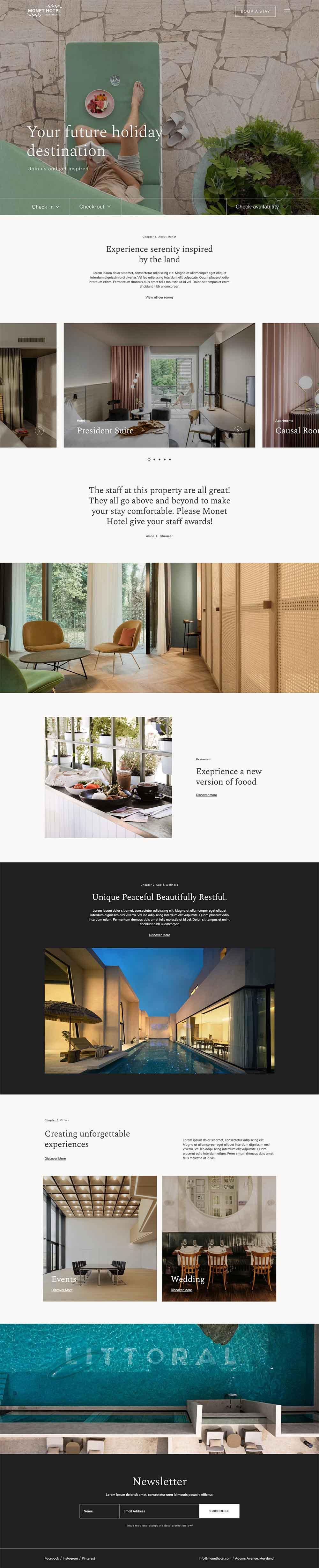 Monet Hotel – Luxurious Hotel Demo Website for WordPress