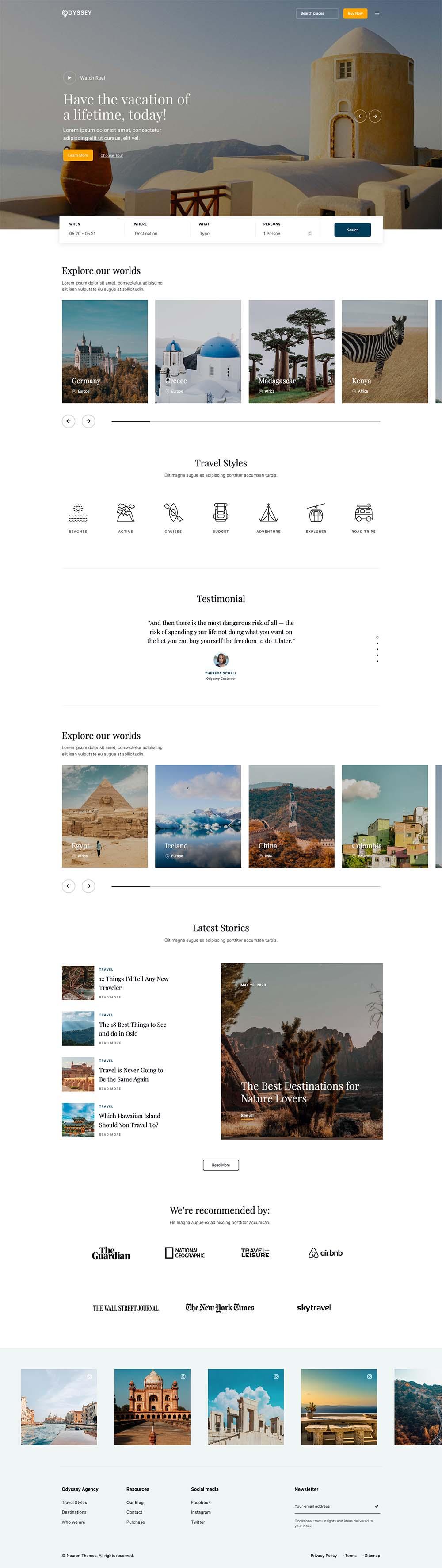 Odyssey Creative Travel Agency Demo Website for WordPress