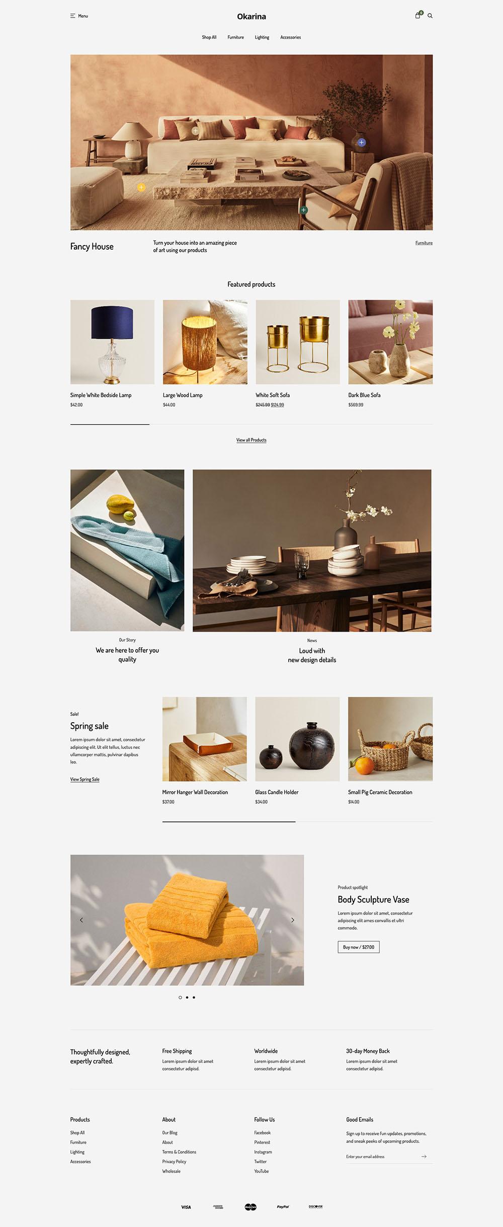 Okarina Furniture Shop Demo Website for eCommerce