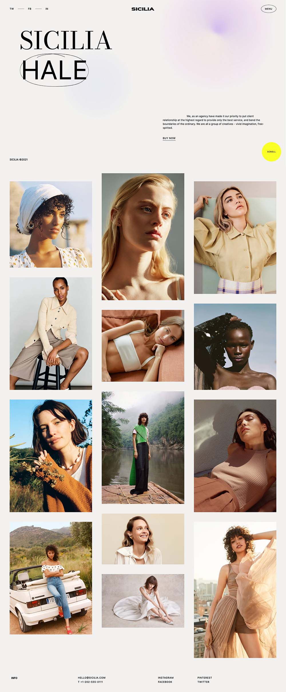 Sicilia Fashion Model Photographer Demo Website for WordPress