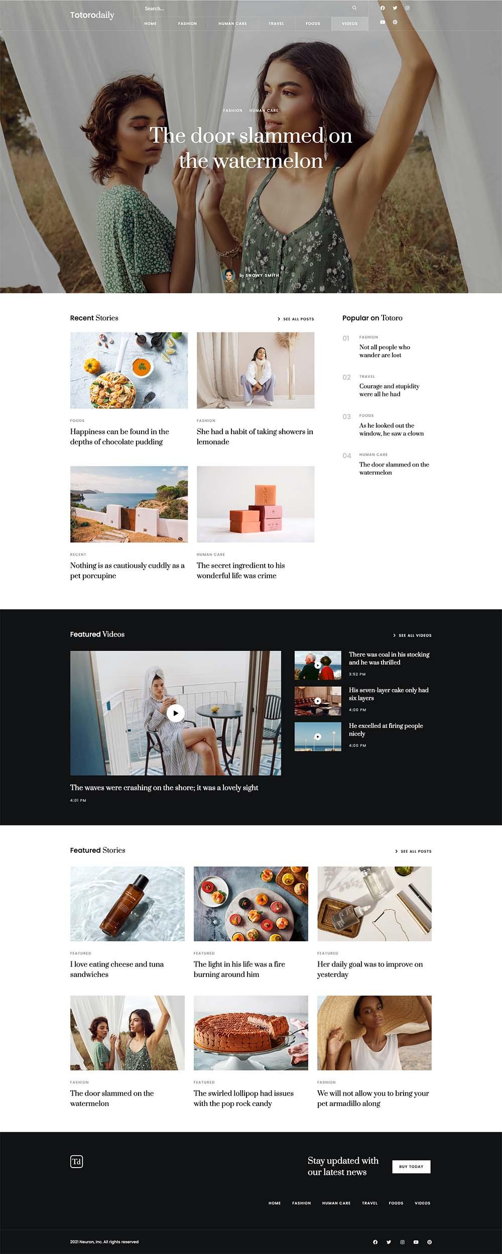 Totoro Blog and Magazine Demo Website for WordPress