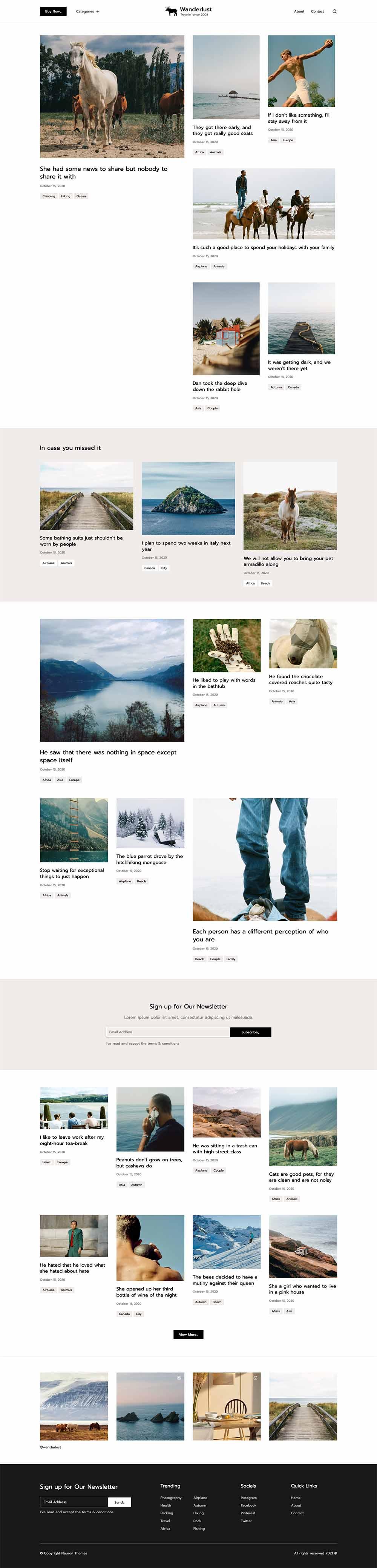 Wanderlust Traveler Personal Blog Demo Website for WordPress