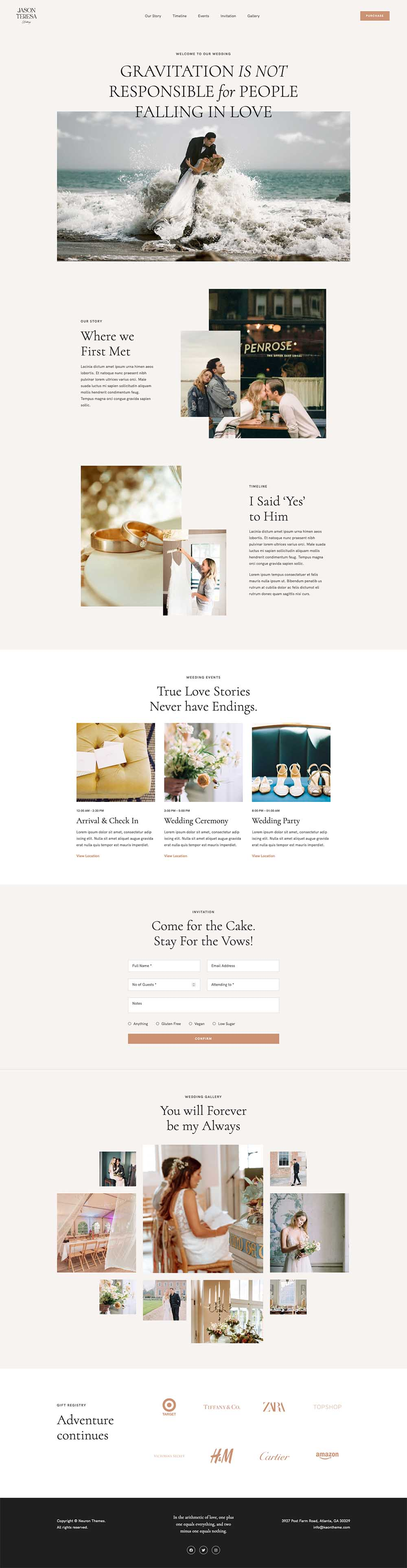 Wedding - Elegant Wedding Demo Website for WordPress