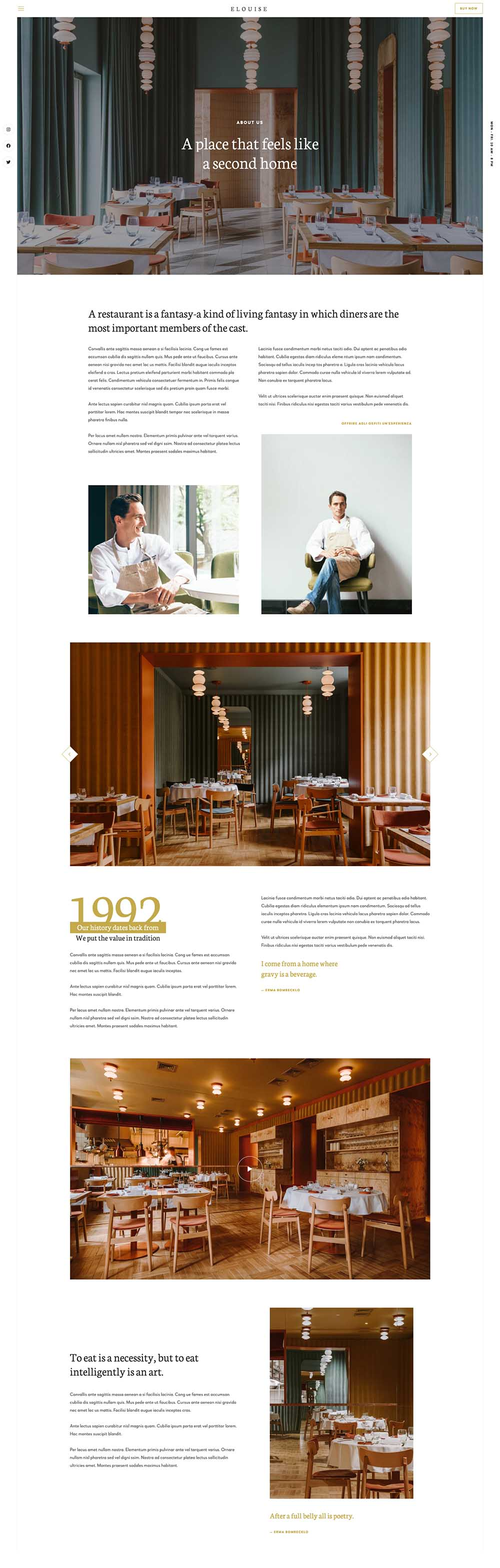 Elouise Fancy Restaurant Demo Website for WordPress
