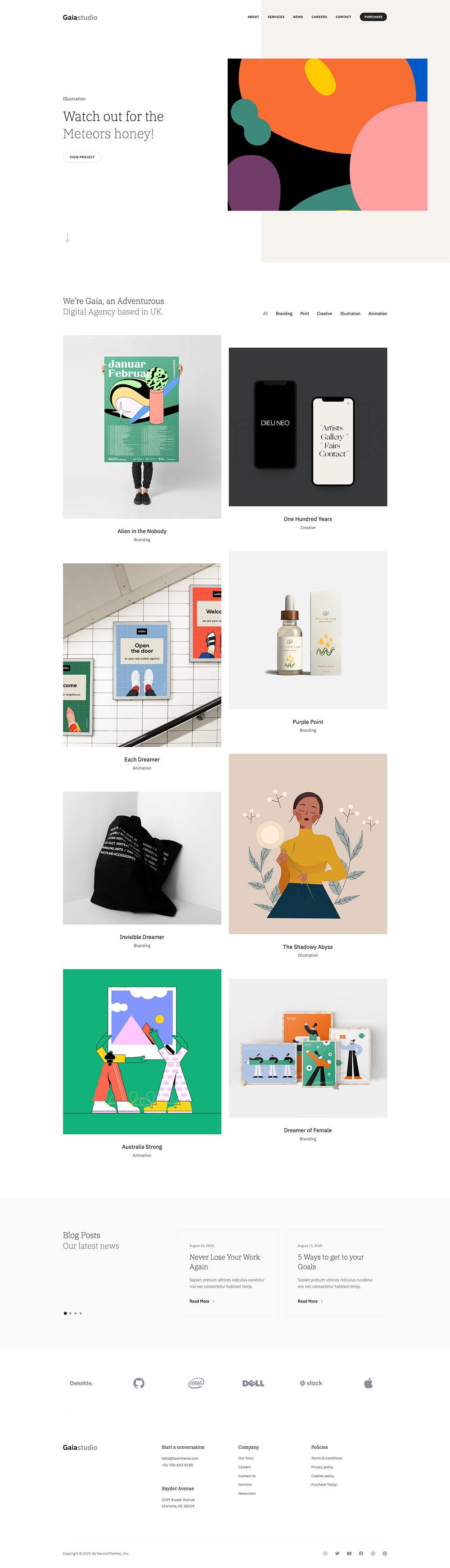 Gaia Studio Agency Demo Website for WordPress