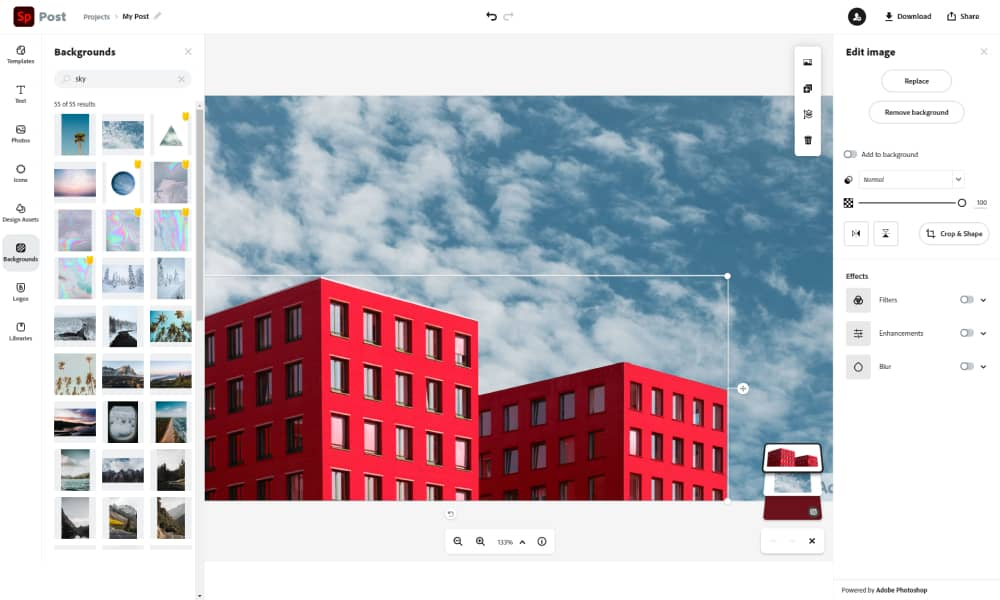 Edit the image in Spark Adobe