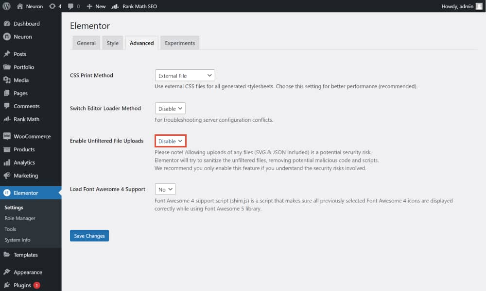 Elementor enable SVG support 1