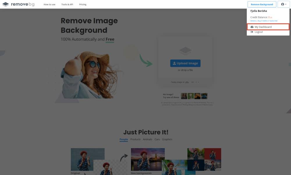 Gain access to Remove BG Dashboard 1