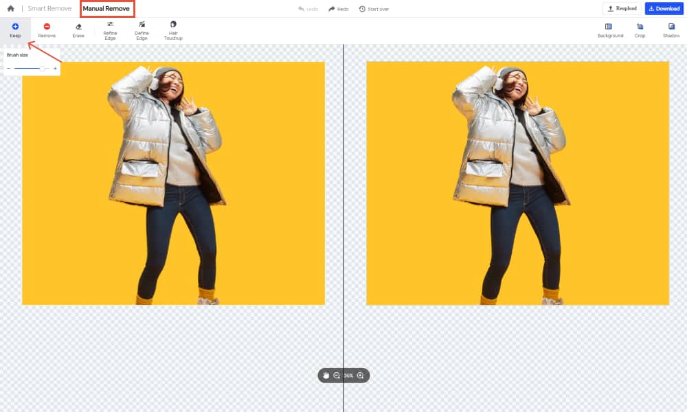 Manually remove the backg of images in Foco Clipping 1