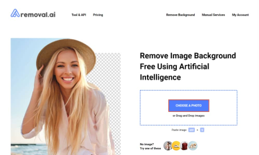 Remove background for free with removal ai