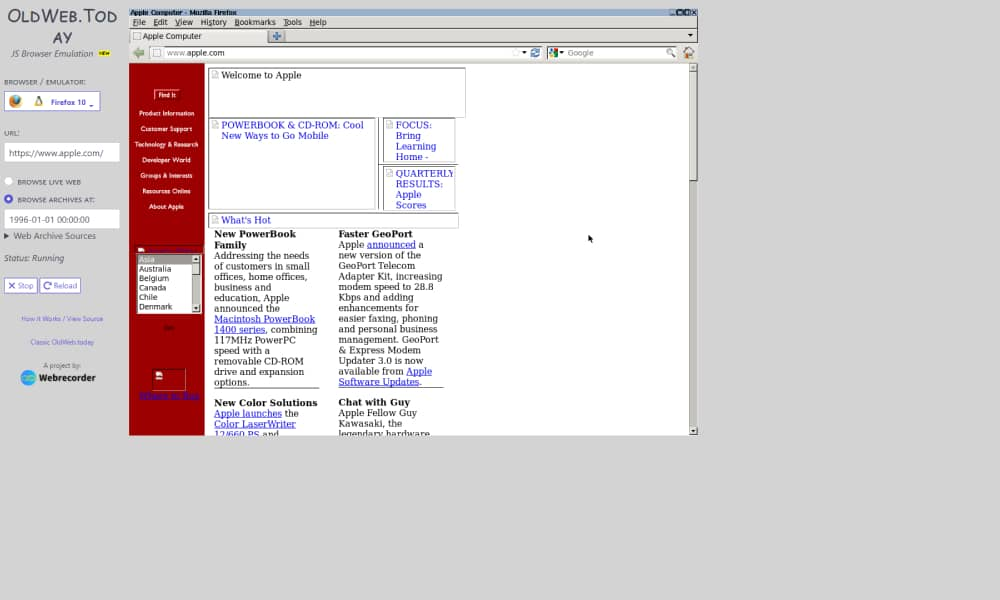 oldweb.today - See results of cached and old websites
