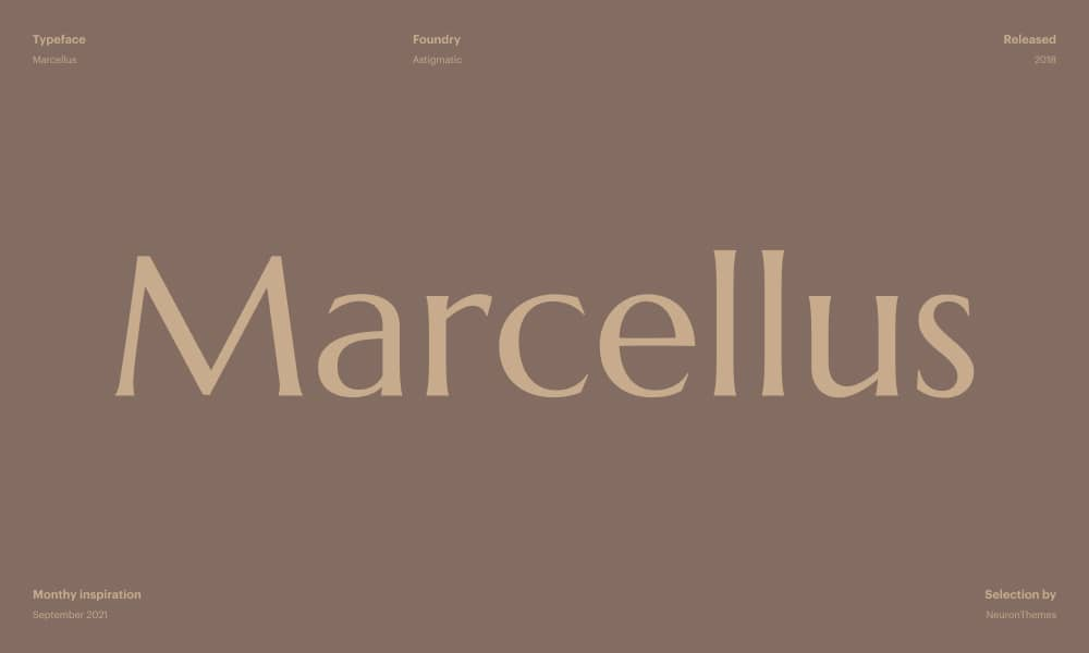 Marcellus - The Best Free Google Fonts for Designers in 2021
