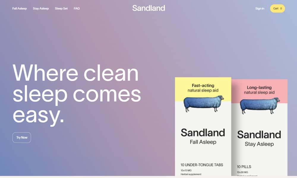 Sandland website - Use of gradients in web design
