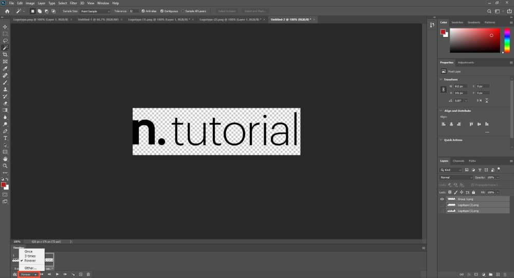 Set the animation on Loop in Photoshop