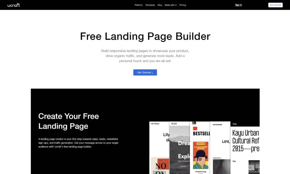 Ucraft Landing Page Builder Software 1
