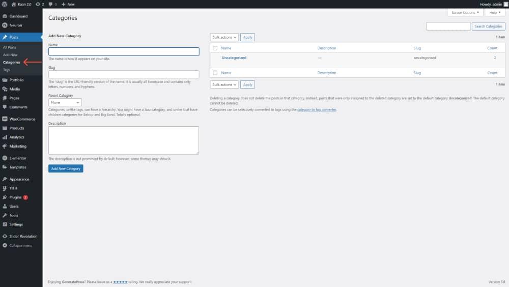 WordPress category order