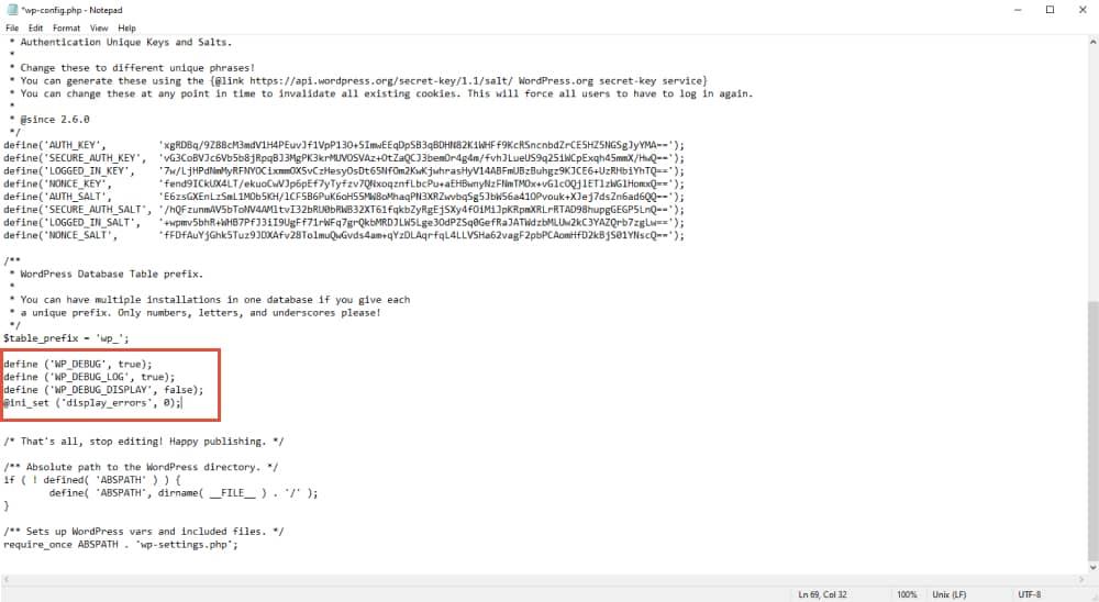 add code to enable wp-debug mode