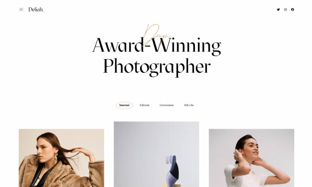 Custom Fonts in WordPress Example - Photography Website