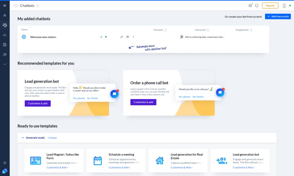 Tidio Dashboard to add a live chat service on your website