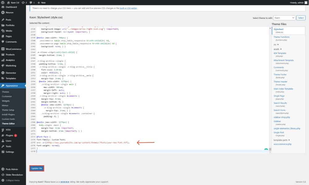Update the file to add custom fonts in WordPress